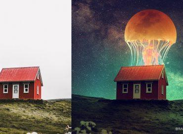 فتومنتاژ خانه و ماه